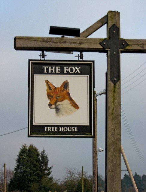 The Fox pub sign, Pave Lane