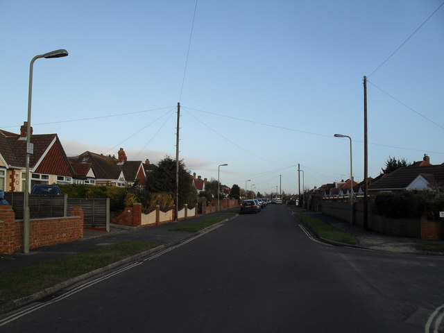 Looking eastwards from The Downsway along The Crossway