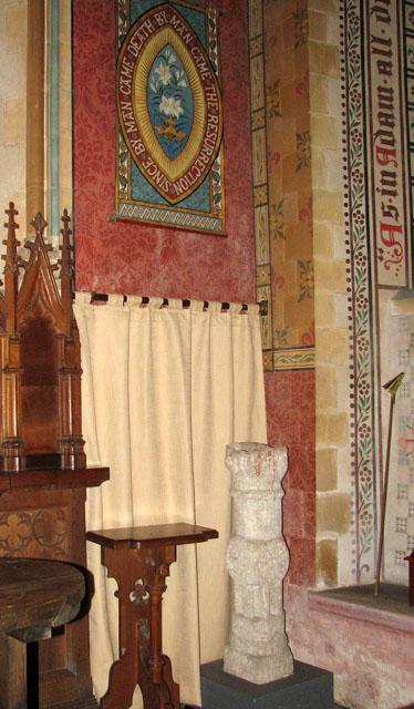St Michael's church - the ancient pillar piscina