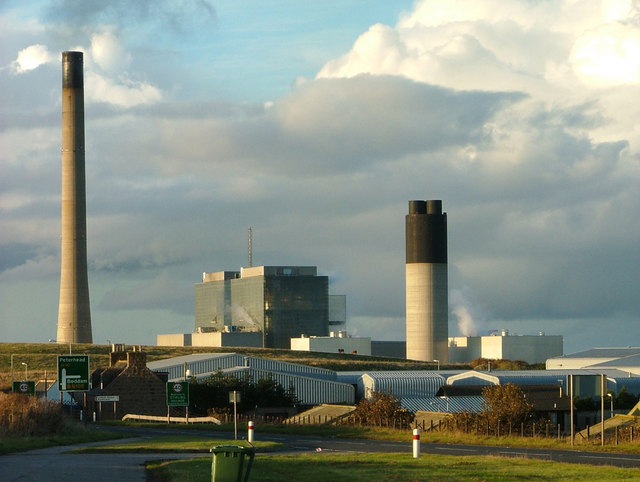 Industrial buildings and Peterhead Power Station
