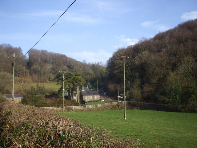 Looking down on the junction at The Cwm