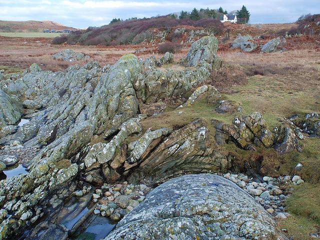 Folded rocks at Kilmory bay