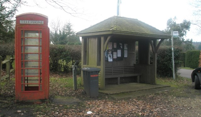 Phonebox by the bus shelter at Dockenfield