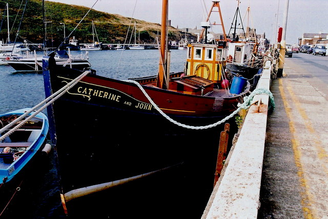 Peel - East Quay - Boat in harbour - Catherine & John