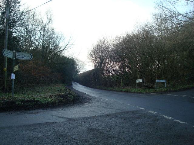 Crossroads near Fernbank Farm