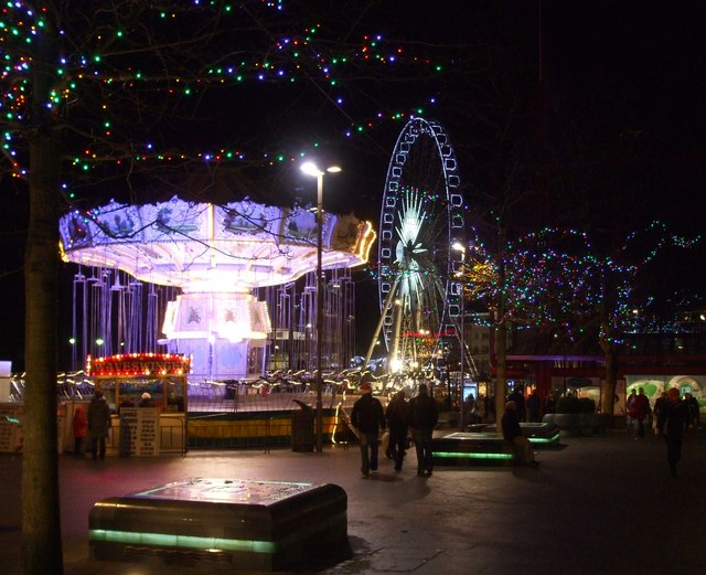 Christmas scene in Barkers Pool, Sheffield