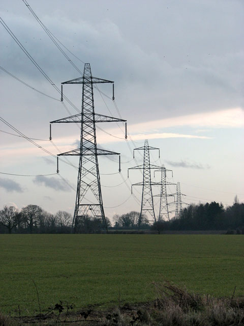 Electricity pylons in fields east of Frosts Lane