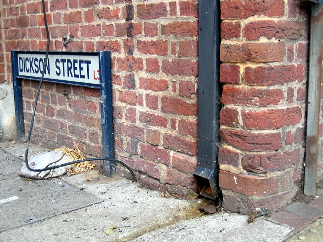 Bench mark on the corner of Dickson Street