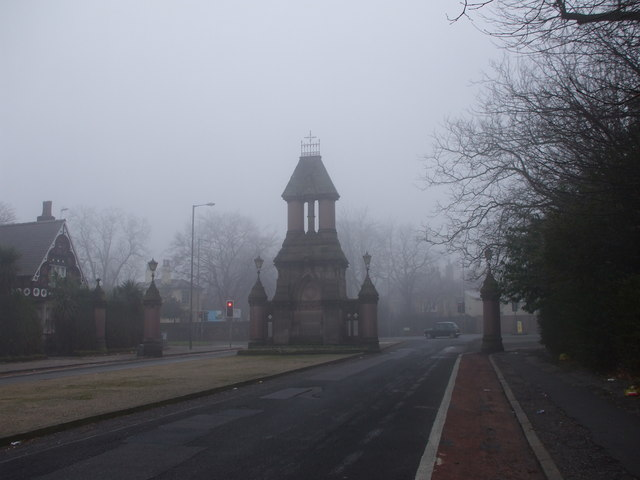Sefton Park Gate on a winter day
