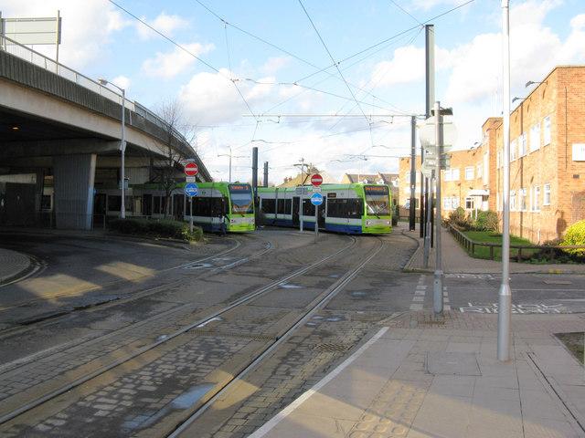 Croydon:  Trams near the Reeves Corner stop