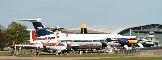 Civil aircraft line-up at IWM Duxford