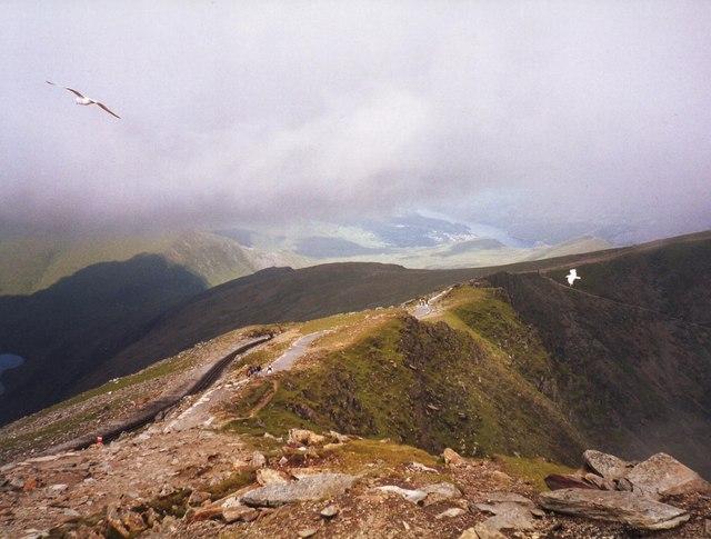 View NNW from Snowdon towards Llanberis