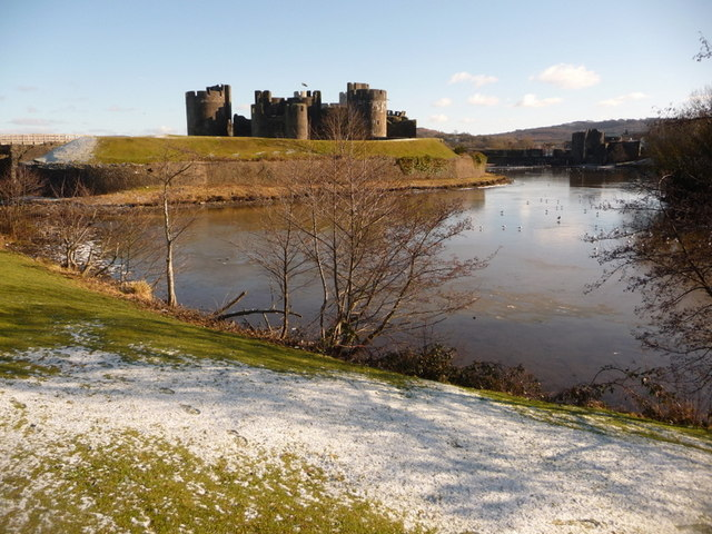 Caerphilly: the castle from the west