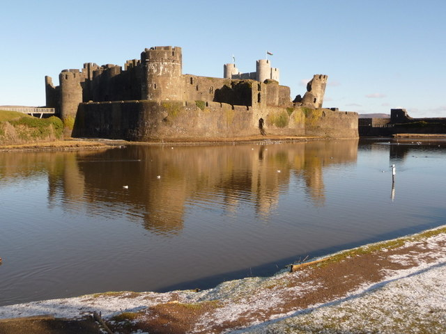 Caerphilly: southern side of castle moat