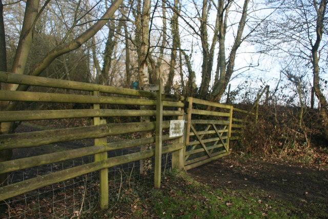 Bridleway sign by a gate to private land, Brambletye Manor Farm