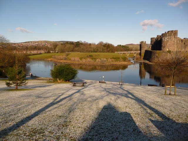 Caerphilly: overlooking the moat