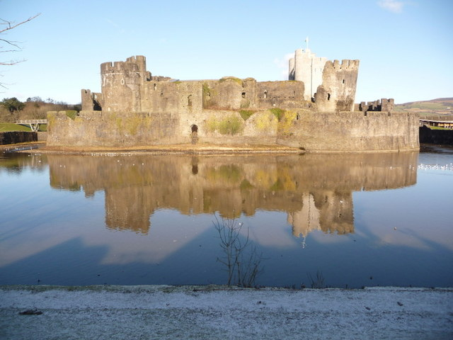 Caerphilly: moat and castle reflection