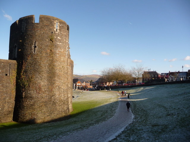 Caerphilly: southeast corner of castle grounds