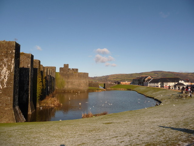 Caerphilly: eastern arm of castle moat