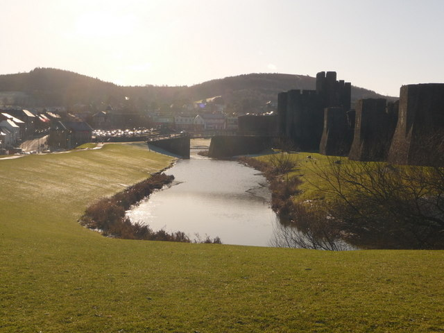 Caerphilly: northeast corner of castle moat