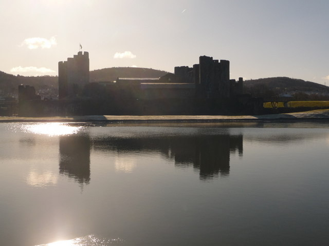 Caerphilly: castle silhouette reflected