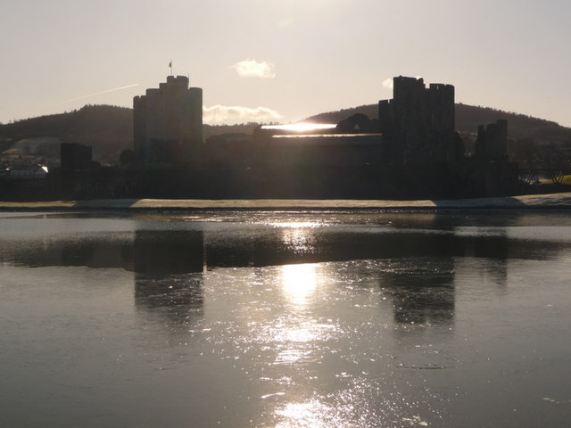 Caerphilly: the castle and its shimmery reflection