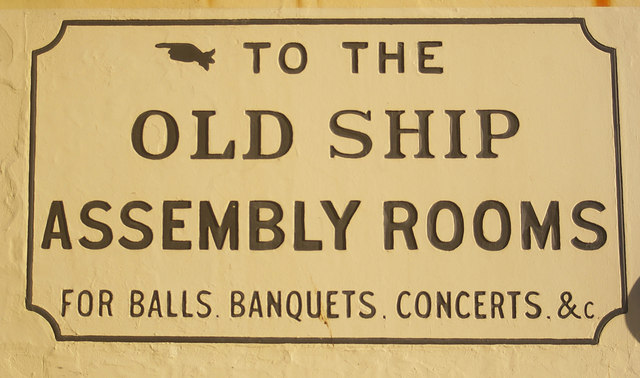 Old Ship Assembly Rooms, Brighton, direction sign