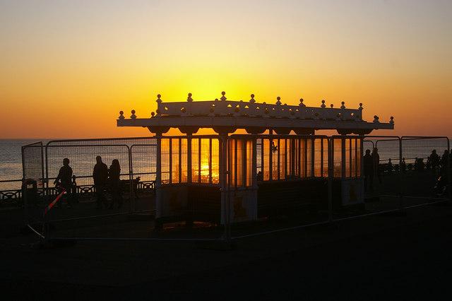 Disused shelter in the evening sun, Brighton-Hove beach