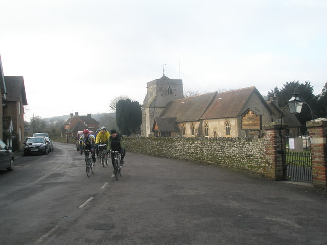 Cyclists passing St Mary's, Frensham
