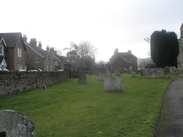 Hazy sunshine in the churchyard at St Mary's, Frensham