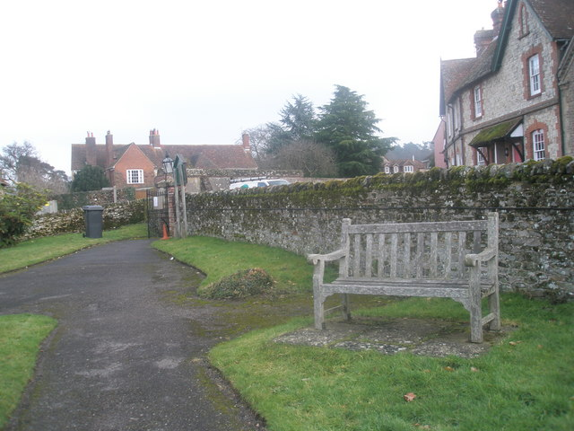 Seat in the churchyard at St Mary's, Frensham