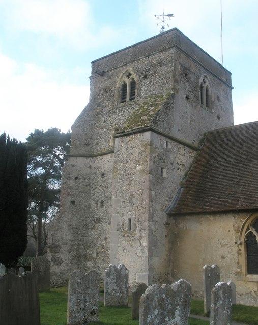 The church tower at  St Mary's, Frensham