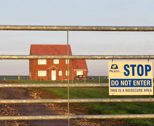 Entrance to York Hall Farm - a biosecure area