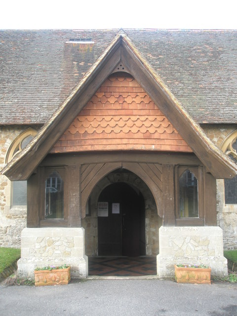 The church porch at St Mary's, Frensham