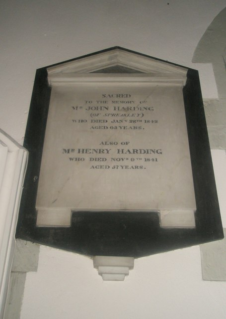 memorial on the south wall at St Mary's, Frensham