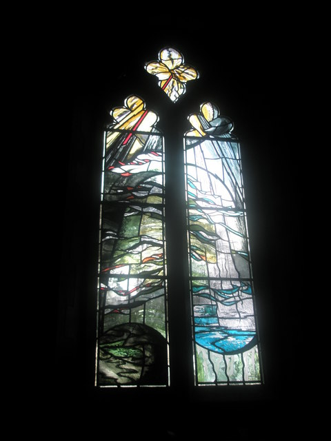 Stained glass window on the north wall at St Mary's Frensham (1)