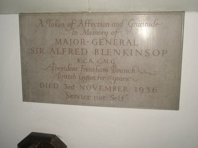 Memorial to a much appreciated soldier within St Mary's, Frensham