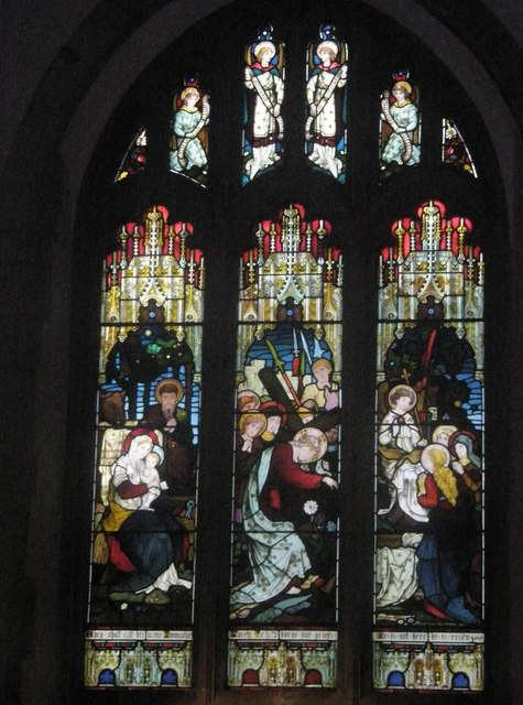 Stained glass window above the altar at St Mary's Frensham