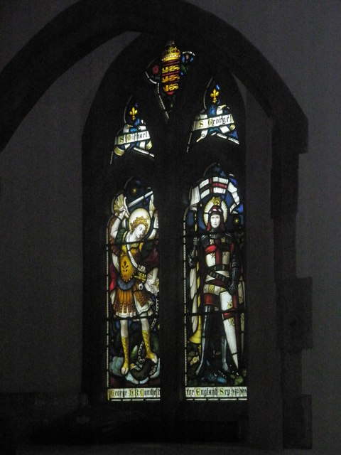 Stained glass window in the chancel at St Mary's Frensham