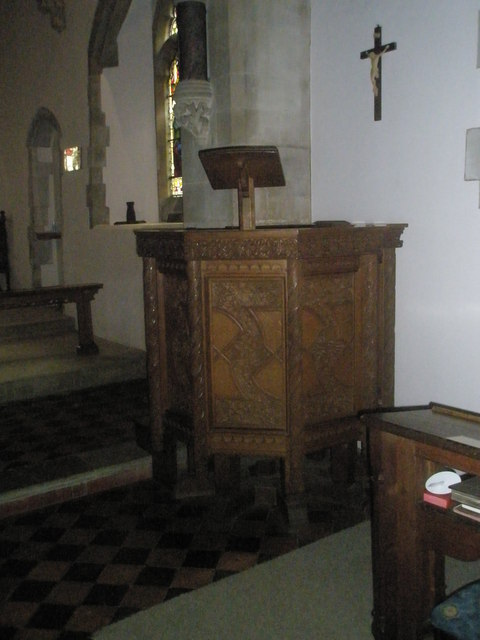 The pulpit at St Mary's, Frensham