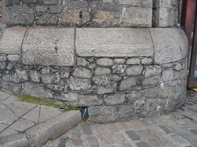 Bench mark on Stanley Dock gatepost