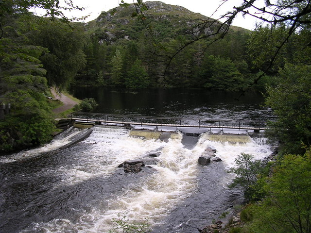 River Inver weir in spate