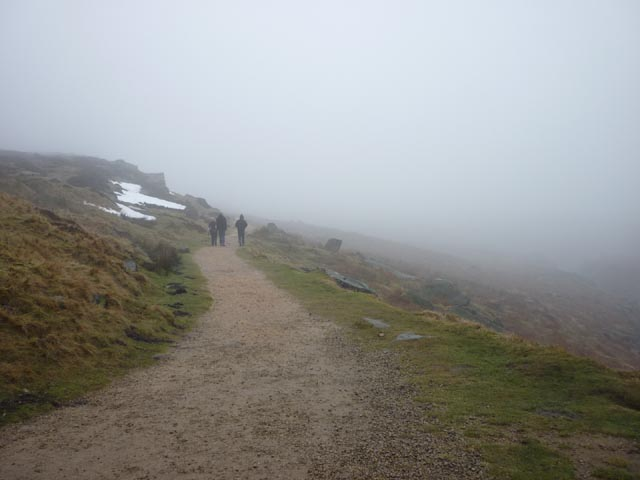 Heading to Burbage Rocks on a misty day