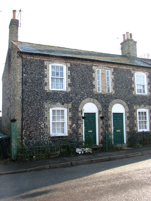 Flint cottages in The Street