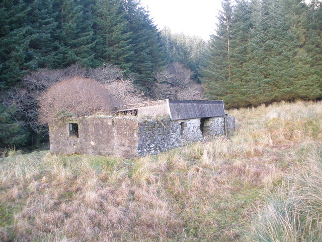 Ruined farm building on the banks of the Allt a' Chaol Ghlinne
