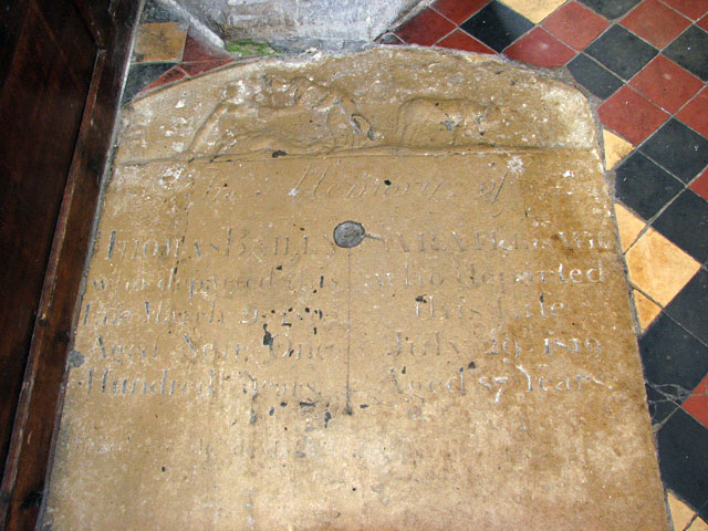 All Saints church - old ledger stone on floor