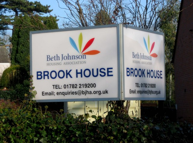 Brook House sign, Chetwynd End