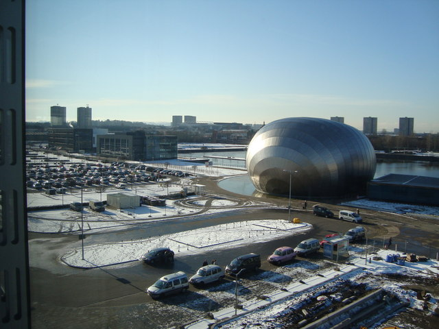 Glasgow IMAX with Prince's Dock Canting Basin in background