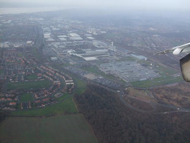 Aerial shot of Halewood Motor Factory