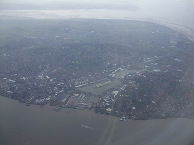 Aerial shot of West and East Float Birkenhead